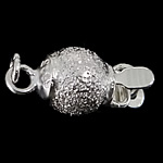 925 Sterling Silver Box Clasp Round single-strand   frosted 6x6.60mm Hole:Approx 1.5mm 20PCs/Bag