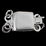 925 Sterling Silver Box Clasp Rectangle 2-strand 7.60x7.10x2.80mm Hole:Approx 1mm 20PCs/Bag