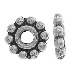 Zinc Alloy Spacer Beads, Flower, antique silver color plated, nickel, lead & cadmium free, 7x2mm, Hole:Approx 3mm, Approx 5000PCs/KG, Sold By KG