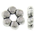 Koraliki dystansowe stopu cynku, Stop cynku, Kwiat, Platerowane kolorem starego srebra, bez zawartości niklu, ołowiu i kadmu, 8x8x2.50mm, otwór:około 2mm, około 1666komputery/KG, sprzedane przez KG
