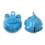 Iron Bell Pendants, Pig, enamel, blue, nickel, lead & cadmium free, 19x23x17mm, Hole:Approx 2mm, 10PCs/Bag, Sold by Bag