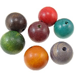 Wood Beads, Round, dyed, mixed colors, 38x37mm, Hole:Approx 6mm, approx 22PCs/Bag, Sold by Bag