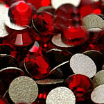 Crystal Cabochons, Dome, flat back & faceted, siam, Grade A, 2.4-2.5mm, 10Grosses/Bag, 144PCs/Gross, Sold By Bag