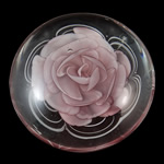 Lampwork Decoration, Flat Round, handmade, pink, inner flower design, 90x34mm, Sold by PC