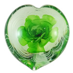 Lampwork Decoration, Heart, handmade, green, inner flower design, 84x85x39mm, Sold by PC