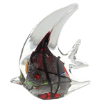 Lampwork Decoration, Fish, handmade, silver foil, 106x114x34mm, Sold by PC