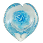 Lampwork Decoration, Heart, handmade, light blue, inner flower design, 92x102x42mm, Sold by PC