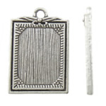 Zinc Alloy Pendants, Rectangle, antique silver color plated, nickel, lead & cadmium free, 19x28x3mm, Hole:Approx 2.5mm, Approx 222PCs/KG, Sold By KG