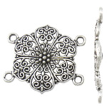 Flower Zinc Alloy Connector antique silver color plated 2/2 loop nickel lead   cadmium free 30x27x2.50mm Hole:Approx 2mm Approx 333PCs/KG