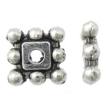 Zinc Alloy Spacer Beads Square antique silver color plated nickel lead   cadmium free 5x5x1.50mm Hole:Approx 1mm Approx 6666PCs/KG