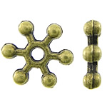 Zinc Alloy Spacer Beads, Flower, antique bronze color plated, nickel, lead & cadmium free, 6.50x6.50x1.50mm, Hole:Approx 1.5mm, Approx 5000PCs/KG, Sold By KG