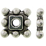 Zinc Alloy Spacer Beads Square antique silver color plated nickel lead   cadmium free 7x7x1.50mm Hole:Approx 1.5mm Approx 3333PCs/KG