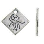 Zinklegering Hangers, Zinc Alloy, Ruit, antiek zilver plated, nikkel, lood en cadmium vrij, 14x14x1mm, Gat:Ca 2mm, Ca 1000pC's/KG, Verkocht door KG