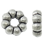 Zinc Alloy Spacer Beads, Flower, antique silver color plated, nickel, lead & cadmium free, 7x7x2.50mm, Hole:Approx 2.5mm, Approx 2000PCs/KG, Sold By KG