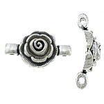 Flower Zinc Alloy Connector, antique silver color plated, nickel, lead & cadmium free, 23x12.50x4mm, Hole:Approx 2mm, Approx 500PCs/KG, Sold By KG