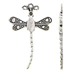 Zinc Alloy Pendant Rhinestone Setting Dragonfly antique silver color plated nickel lead   cadmium free 25.20x38x2.20mm Hole:Approx 1.5mm Approx 500PCs/KG