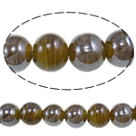 Plated Lampwork Beads, Round, coffee color, 16mm, Hole:Approx 1-2.5mm, Length:Approx 12.8 Inch, 10Strands/Bag, Sold By Bag