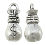 Cynku stopu pieniędzy torby wisiory, Stop cynku, Worek pieniędzy, Platerowane kolorem starego srebra, bez zawartości niklu, ołowiu i kadmu, 6.50x14.80x6.80mm, otwór:około 1.8mm, około 555komputery/KG, sprzedane przez KG