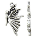 Zinc Alloy Pendant Rhinestone Setting Angel antique silver color plated nickel lead   cadmium free 16x29x3mm Hole:Approx 1.8mm Inner Diameter:Approx 1mm Approx 400PCs/KG