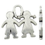 Character Shaped Zinc Alloy Pendants, antique silver color plated, nickel, lead & cadmium free, 21.20x20.20x2.20mm, Hole:Approx 3x5.5mm, Approx 312PCs/KG, Sold By KG
