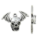 Zinc Alloy Skull Pendants, antique silver color plated, nickel, lead & cadmium free, 23.50x17x3.80mm, Hole:Approx 1mm, Approx 666PCs/KG, Sold By KG