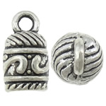 Zinc Alloy End Cap, antique silver color plated, nickel, lead & cadmium free, 7.50x13.50mm, Hole:Approx 2.2mm, Inner Diameter:Approx 5mm, approx 666PCs/KG, Sold by KG