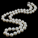 Natural Freshwater Pearl Necklace brass bayonet clasp Oval white 7-8mm Sold Per 16.5 Inch Strand