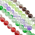 Crackle Glass Beads, Round, mixed colors, 14mm, Hole:Approx 2mm, Length:Approx 32.2 Inch, 10Strands/Bag, Sold By Bag