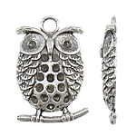 Zinc Alloy Pendant Rhinestone Setting, Owl, antique silver color plated, nickel, lead & cadmium free, 21x32x4mm, Hole:Approx 4mm, Inner Diameter:Approx 2mm, Approx 321PCs/KG, Sold By KG