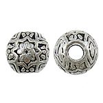 Zinc Alloy Jewelry Beads Round antique silver color plated large hole nickel lead   cadmium free 9mm Hole:Approx 3mm Approx 462PCs/KG