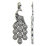 Zinc Alloy Pendant Rhinestone Setting Peacock antique silver color plated nickel lead   cadmium free 15x41.40x2.30mm Hole:Approx 1.5mm Inner Diameter:Approx 1.5mm Approx 294PCs/KG