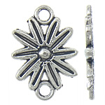 Flower Zinc Alloy Connector, antique silver color plated, 1/1 loop, nickel, lead & cadmium free, 14x20.50x1.80mm, Hole:Approx 2.3mm, Approx 625PCs/KG, Sold By KG