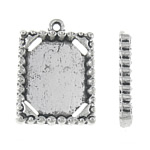 Zinc Alloy Pendant Cabochon Setting, Rectangle, antique silver color plated, nickel, lead & cadmium free, 17x24x3mm, Hole:Approx 1.5mm, Inner Diameter:Approx 13.5x17mm, Approx 350PCs/KG, Sold By KG