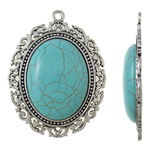 Turquoise Pendant, Zinc Alloy, Oval, antique silver color plated, lead & cadmium free, 48x63.50x9mm, Hole:Approx 3mm, 10PCs/Bag, Sold By Bag