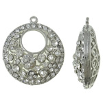 Zinc Alloy Pendants, Donut, antique silver color plated, with rhinestone, lead & cadmium free, 33x37x4mm, Hole:Approx 2mm, 10PCs/Bag, Sold By Bag
