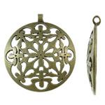 Zinklegering holle hangers, Zinc Alloy, Rond plat, antiek brons plated, lood en cadmium vrij, 50x56x5mm, Gat:Ca 3.5mm, Verkocht door PC
