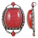 Fashion Lampwork Pendants, Zinc Alloy, Oval, antique silver color plated, with rhinestone, lead & cadmium free, 50x75.50x16.50mm, Hole:Approx 7x5mm, 10PCs/Bag, Sold By Bag