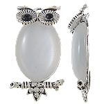 Cats Eye Pendants, Owl, zinc alloy setting with rhinestone, antique silver color plated, nickel, lead & cadmium free, 22x38x8mm, Hole:Approx 3mm, 10PCs/Bag, Sold by Bag