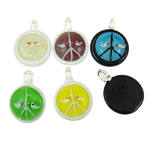 Fashion Lampwork Pendants, Flat Round, handmade, mixed colors, 35x12mm, 38x12.5mm, 190x205x15mm, Hole:Approx 4-8mm, 12PCs/Box, Sold By Box