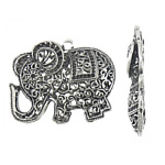 Zinc Alloy Pendant Rhinestone Setting, Elephant, antique silver color plated, hollow, nickel, lead & cadmium free, 55x46x9mm, Hole:Approx 4mm, Inner Diameter:Approx 1.5mm, Sold By PC