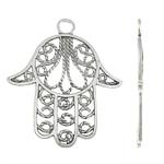 Zinklegering Hamsa Hangers, Zinc Alloy, antiek zilver plated, Joodse Jewelry & Islam sieraden, nikkel, lood en cadmium vrij, 60x70x2mm, Gat:Ca 6.5mm, Ca 75pC's/KG, Verkocht door KG
