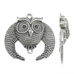 Zinc Alloy Connector Setting, Owl, antique silver color plated, 1/1 loop, lead & cadmium free, 49x48x10mm, Hole:Approx 3mm, 3.5mm, Inner Diameter:Approx 4mm, 10PCs/Bag, Sold By Bag