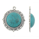 Turquoise Pendant, Zinc Alloy, Dome, antique silver color plated, lead & cadmium free, 30.50x35x7.50mm, Hole:Approx 2.5mm, 10PCs/Bag, Sold By Bag