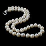 Naszyjnik z naturalnych pereł słodkowodnych, Perła naturalna słodkowodna, Mosiądz zapięcie, Koło, Naturalne, biały, 8-9mm, sprzedawane na 16.5 cal Strand