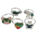 кольцо с эмалью настроения , Латунь, с Железо, разнообразный, не содержит никель, свинец, 12.5-16mm, внутренний диаметр:Приблизительно 16mm, размер:6, 100ПК/Box, продается Box