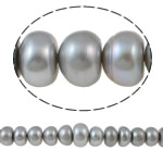 Button Cultured Freshwater Pearl Beads, natural, grey, 12-16mm, Hole:Approx 0.8mm, Sold Per Approx 15 Inch Strand
