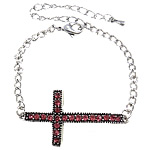 Zinc Alloy Bracelet, with Iron, Cross, platinum color plated, with rhinestone, nickel, lead & cadmium free, 21x42x8mm, Sold Per Approx 7.5 Inch Strand