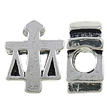 Zinc Alloy European Beads, antique silver color plated, without troll & large hole, nickel, lead & cadmium free, 12x15x7mm, Hole:Approx 5mm, 10PCs/Bag, Sold by Bag