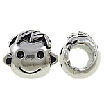 Zinc Alloy European Beads, Boy, antique silver color plated, without troll & large hole, nickel, lead & cadmium free, 10x11x9mm, Hole:Approx 4.5mm, 10PCs/Bag, Sold by Bag