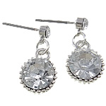 Zinc Alloy Earrings, stainless steel post pin, Flat Round, platinum color plated, with rhinestone, nickel, lead & cadmium free, 10x20x6mm, Sold By Pair